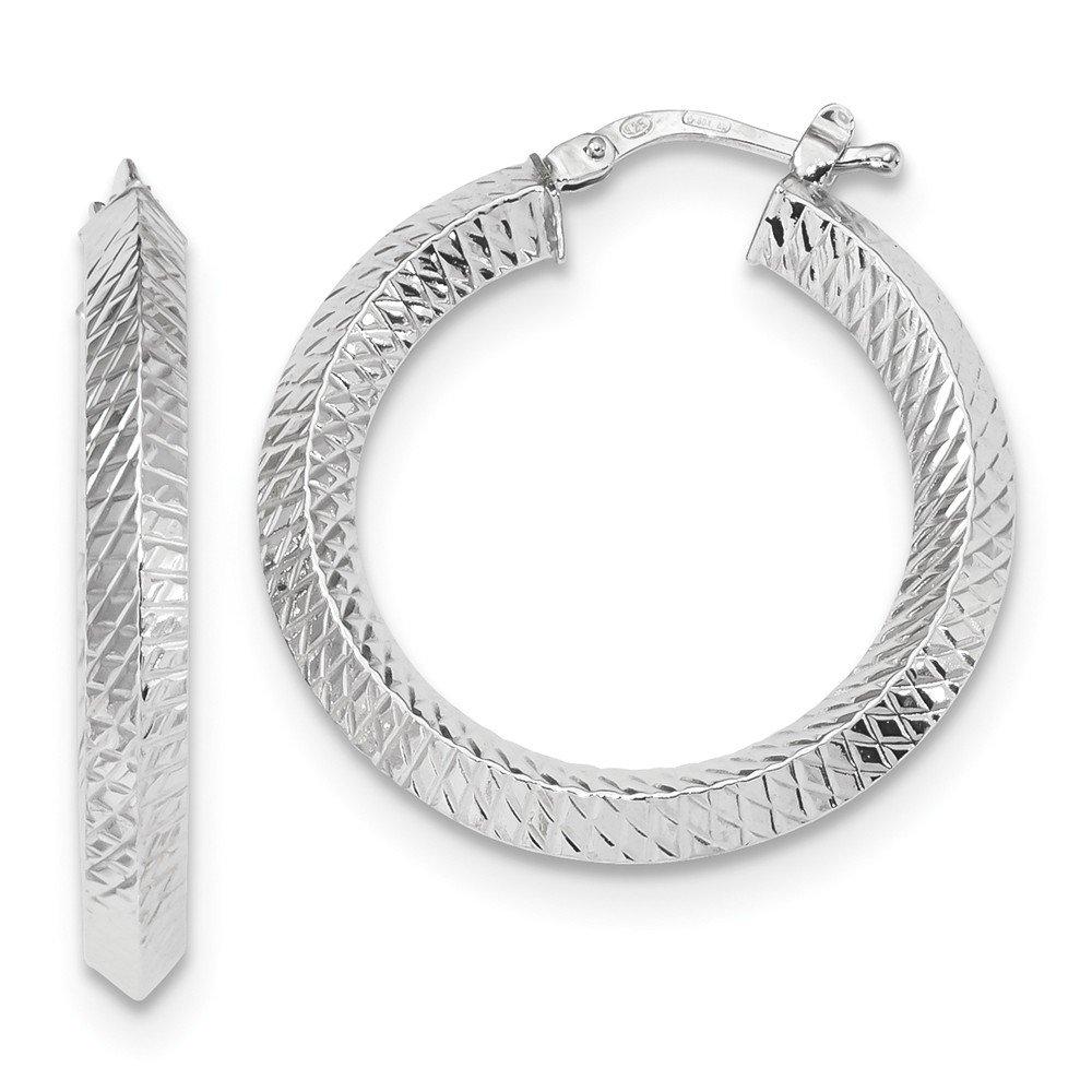 Mia Diamonds 14K White Gold Textured Hinged Hoop Earring