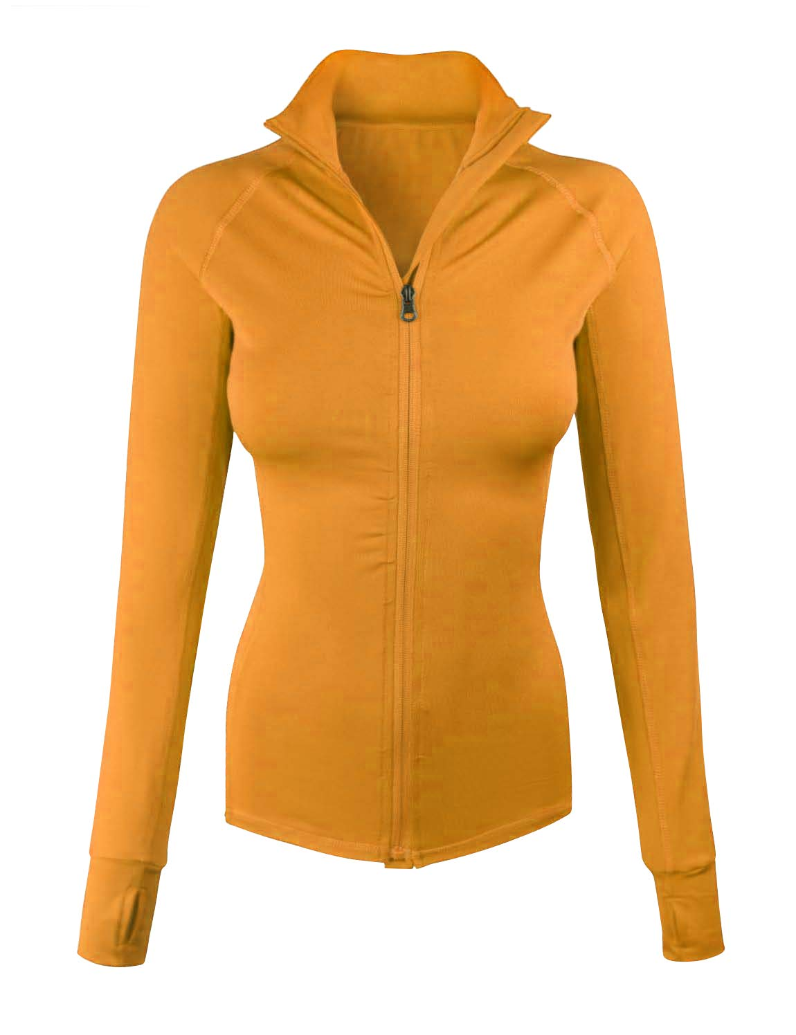 makeitmint Women's Comfy Zip Up Stretchy Work Out Track Jacket w/Back Pocket Small YJZ0002-MUSTARD-SML