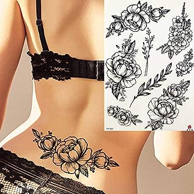 Tatuajes Temporales Niños Rose Peony Leaves Camellia Daisy ...