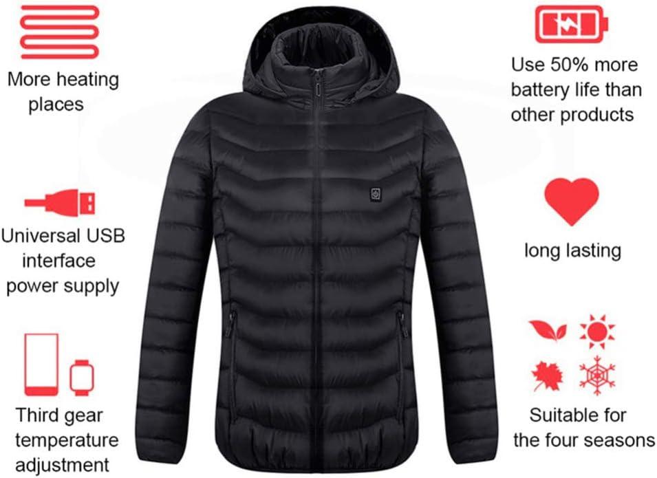 Giacche Riscaldati per Gli Uomini E Le Donne, USB Elettrico Riscaldamento Cappuccio Termico di Inverno più Calde Giacche Caldo E Confortevole di Sicurezza Temperatura Costante Nero 7CbXU