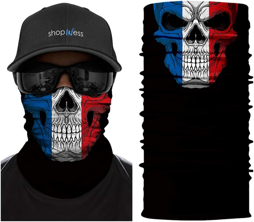 ShopINess Foulard Culotte Multifonction Skull France Flag