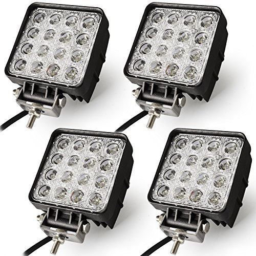 Oplips 4Pack 48W 4 inch Square LED Work Light Lamp Off Road High Power ATV Jeep Wrangler 4x4 Rv Trailer Boat Tractor Truck Excavator Fork Lift Camping Boat Tractor (4 x 48w Work Light)