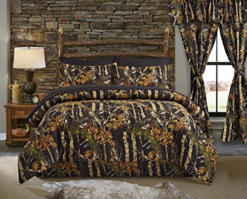 Regal Comfort The Woods Black Camouflage Twin 4 Piece Premium Luxury Comforter, Bed Skirt, and 2 Pillow Shams Set - Camo Bedding Set for Hunters Cabin or Rustic Lodge Teens Boys and Girls ()