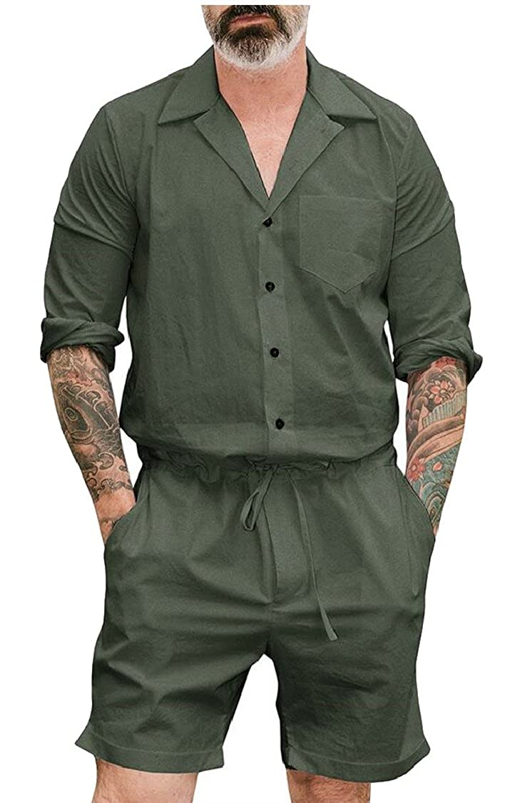5ea3814259e Gocgt Men Short Sleeve Jumpsuit Short Cargo Pants Rompers Overall at Amazon  Men s Clothing store