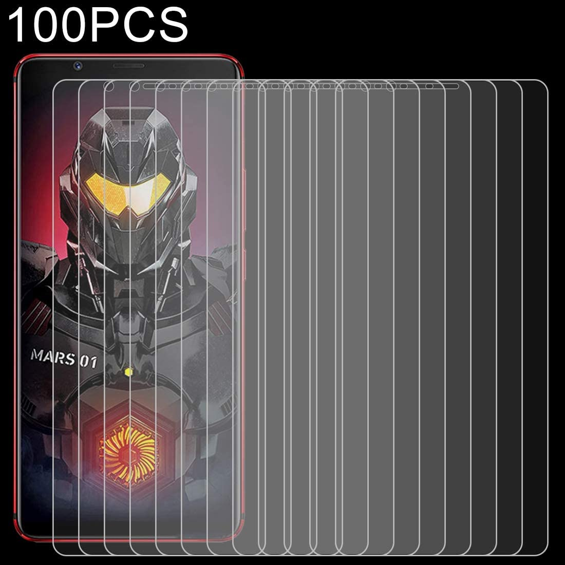 Lihuoxiu Phone Screen Protectors 100 PCS 0.26mm 9H 2.5D Explosion-Proof Tempered Glass Film for ZTE Nubia Red Magic Mars