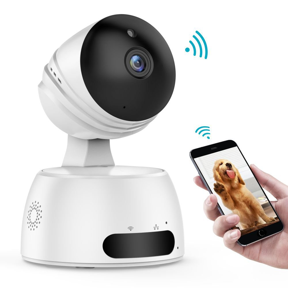 IP Camera, iSPECLE 1080P HD WiFi Surveillance Security Baby Camera Wireless Remote with Two-Way Audio Night Vision Pet Monitor Motion Detection Indoor Home Baby Elder Nanny Pet Camera White