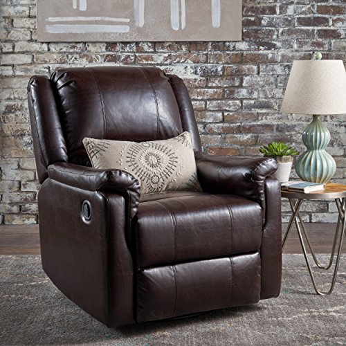 Jemma Tufted Brown Bonded Leather Swivel Gliding Recliner Chair