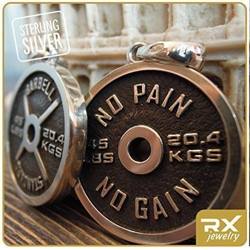 Fitness Jewelry Gifts For Men and For Women Sterling Silver Weight Plate Necklace No Pain No Gain Barbell Pendant Powerlifting Motivation Unique Handmade Charm For Weightlifting Bodybuilding Athlete