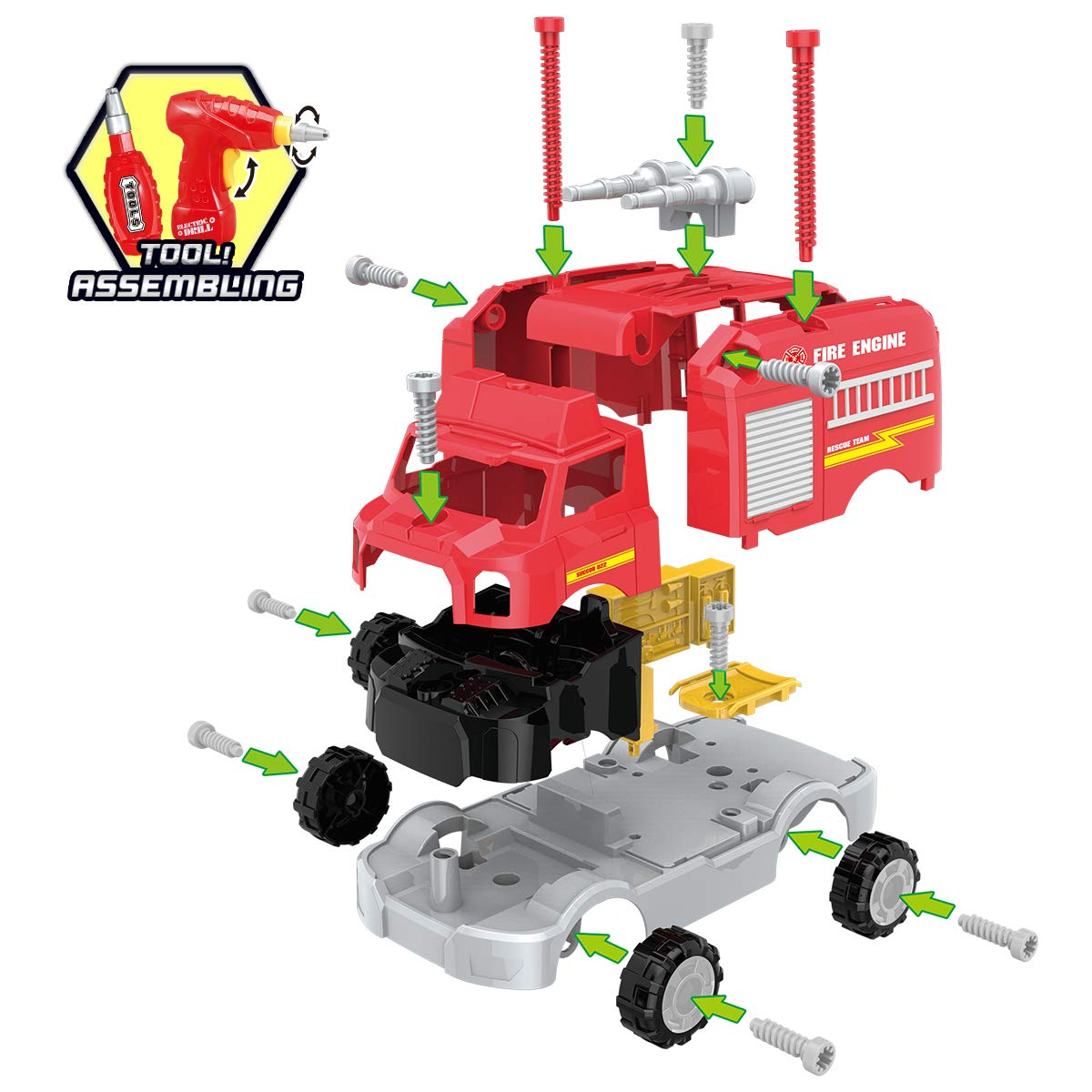 REMOKING STEM Learning Take Apart Toy for Boys & Girls, Build Your Own Car Toy Fire Truck Educational Playset with Tools and Power Drill, DIY Assembly Car with Realistic Sounds & Lights (3+ Ages) by REMOKING (Image #2)