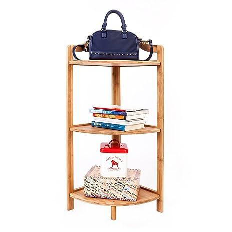 Bonnlo Corner Shelf 3 Tier Bamboo Storage Shelving Unit Corner Rack For  Living Room,
