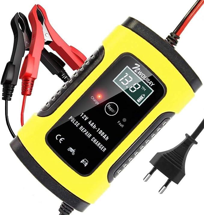 Nwouiiay Autobatterie Ladegerät 6a 12v Batterieladegerät Auto Vollautomatisches Ladegerät Mit Lcd Bildschirm Batterieladegerät Für Auto Und Motorrad Auto