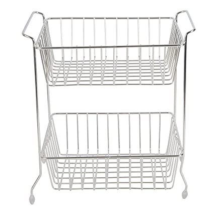 White, 2 Tier White, 2 Tier FRUIT VEGETABLE 2 TIER RACK STORAGE SHELF ORGANIZER STAND CART TROLLEY KITCHEN Pack of 2 Pack of 2