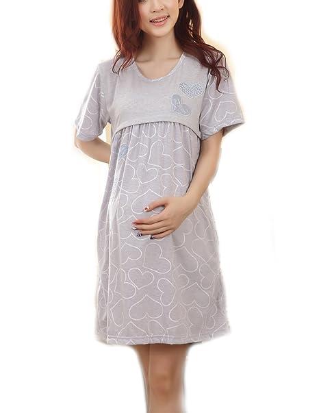 80f14574ed5 Bold N Elegant Cotton Maternity Sleepwear Pregnancy Dresses Feeding Nursing  Dress Pregnancy Nightgown Maternity Nighty (Grey)  Amazon.in  Clothing   ...