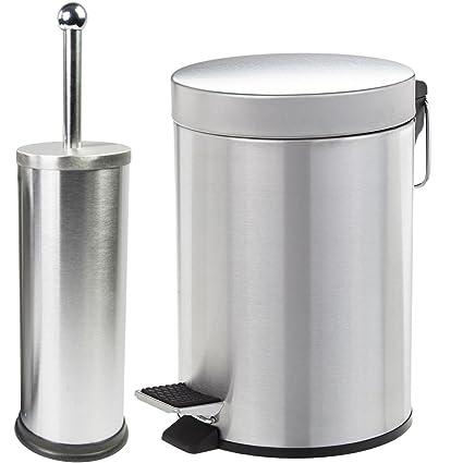 BAKAJI Juego Cubo a Pedal 3 litros con escobilla de baño ...
