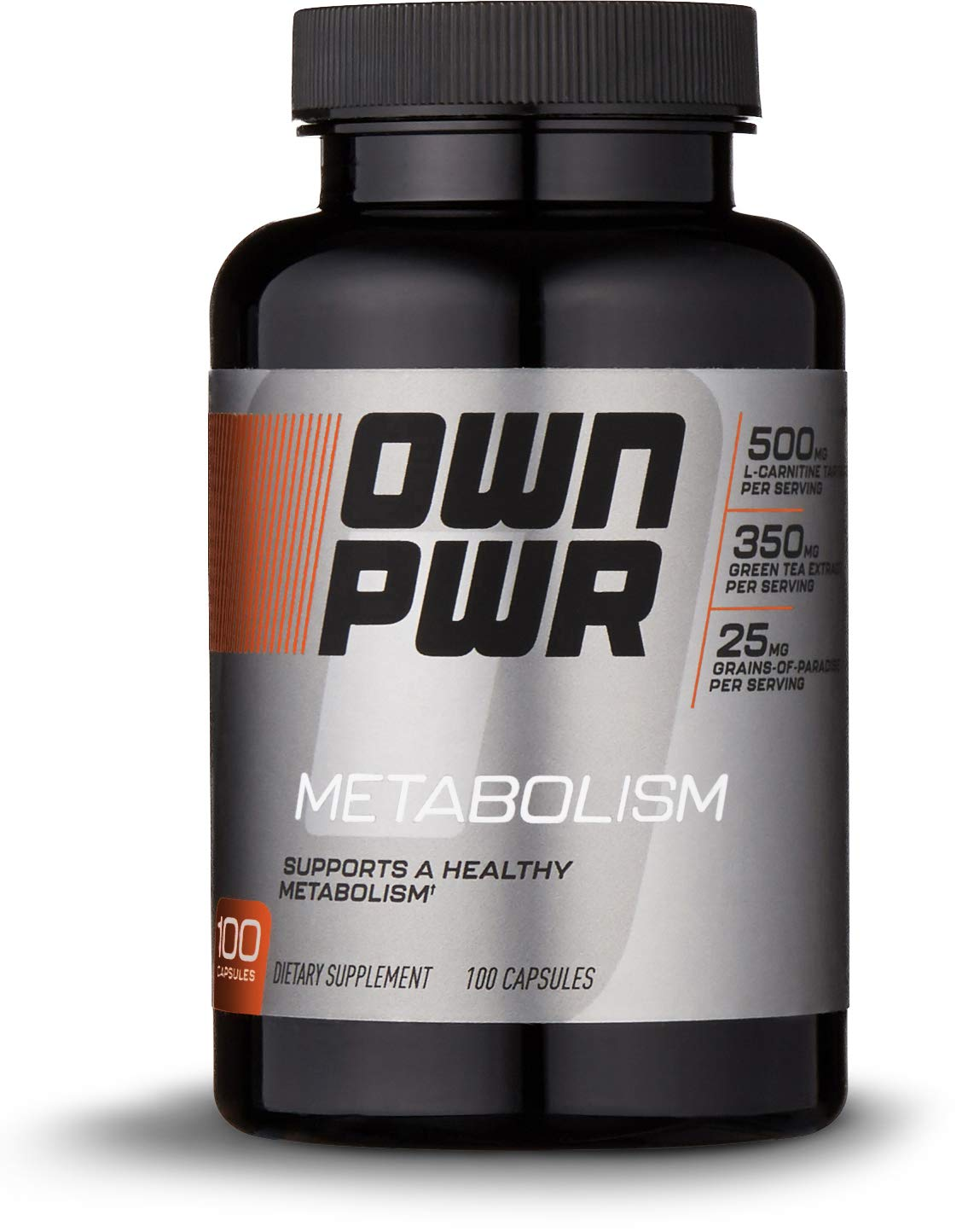 OWN PWR Metabolism Complex, 100 Capsules (50 servings), 500mg L-Carnitine, 350mg Green Tea Leaf Extract, 25mg Grains-of-Paradise
