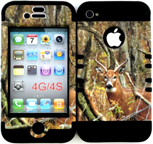 [Bumper Case for Apple Iphone 4 4s Camo Mossy Real Deer Hunter Series Design Hard Plastic Snap on Over Black Silicone Gel] (Mossy Deer Camo)
