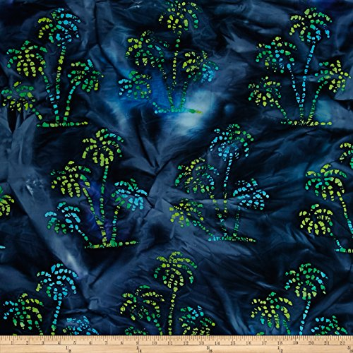 Textile Creations Indian Batik Ocean Grove Palm Trees Navy//Grn Fabric, Blue, Fabric by the ()