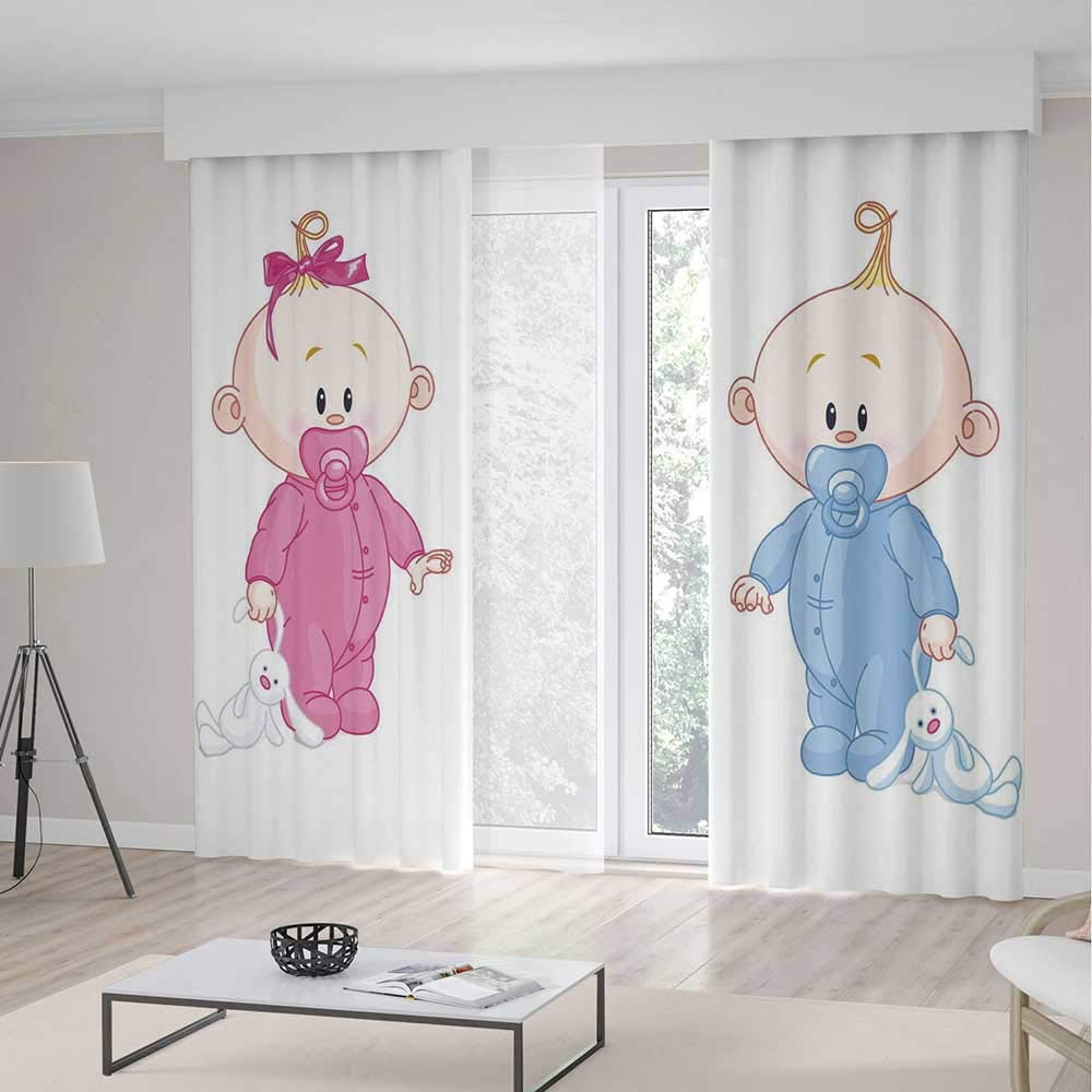 TecBillion Decor Collection,Gender Reveal,for Bedroom Living Dining Room Kids Youth Room,Cheerful Boy and Girl Children with Bunny Pacifiers Twins,70Wx98L Inches