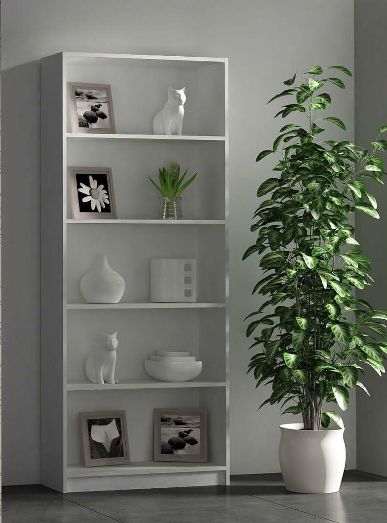 HOGAR24 Estantería Alta 5 estantes 180 x 75 x 25 Color Blanco: Amazon.es: Juguetes y juegos
