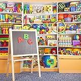 OFILA Kids Toys Store Backdrop 5x5ft Photography Background Blocks Balls Blackboard Shop Video Studio Props Children Toddler Baby Portraits