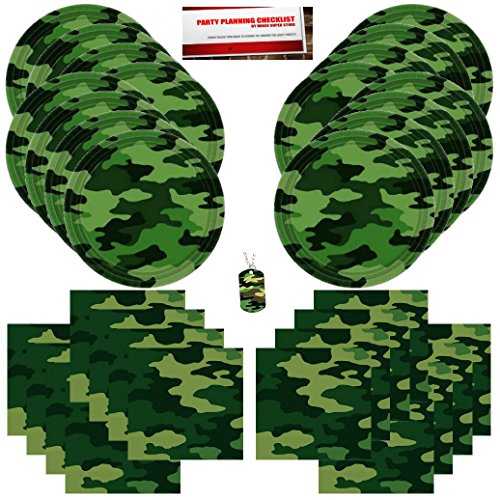 Military Army Camo Camouflage Happy Birthday Party Supplies Bundle Pack for 16 plus Bonus Camoflage Dog Tag
