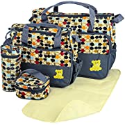 GPCT Baby Diaper Tote Stylish Nappy Messenger Insulated Bag 5 Piece Set. Large Medium Handbag, Food/Bottle Bag, Shoulder Straps. Great Washable Convertible Bag- Mom & Dad. Best Baby Shower Gift! Grey