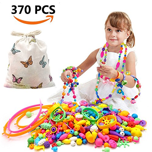 370 Pcs Pop Snap Beads Set,Creative DIY Jewelry Making Kit for Rings,Bracelets,Necklaces Educational Pop Beads Art Crafts Gifts Toys for Girls,Toddlers, Kids by Lorde