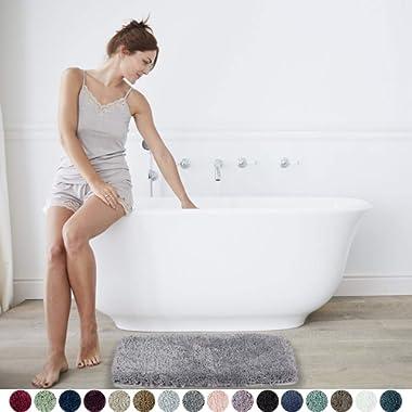 Walensee Large Bathroom Rug (24 x 40, Grey) Extra Soft and Absorbent Shaggy Bathroom Mat Machine Washable Microfiber Bath Mat for Bathroom, Non Slip Bath Mat, Luxury Bathroom Floor Mats Rubber Back