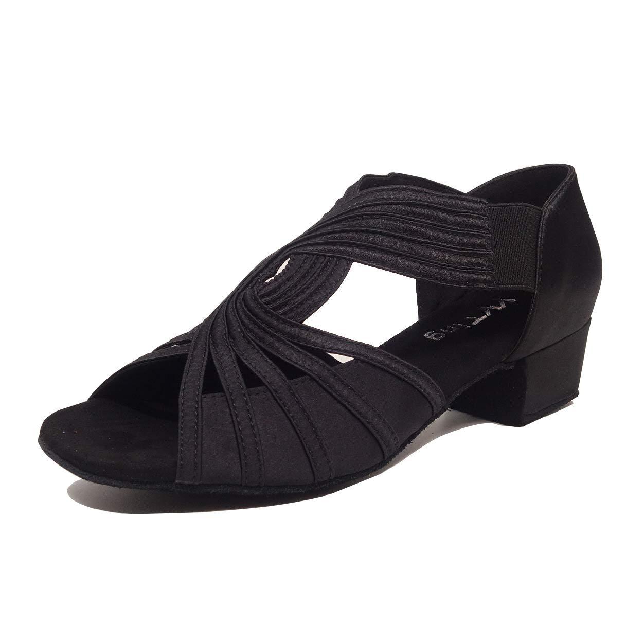 Low Heel Women Ballroom Dance Shoes Salsa Batchata Social Beginner Practice Wedding Dancing 2'' Heels YT04(9, Black) by YYTing