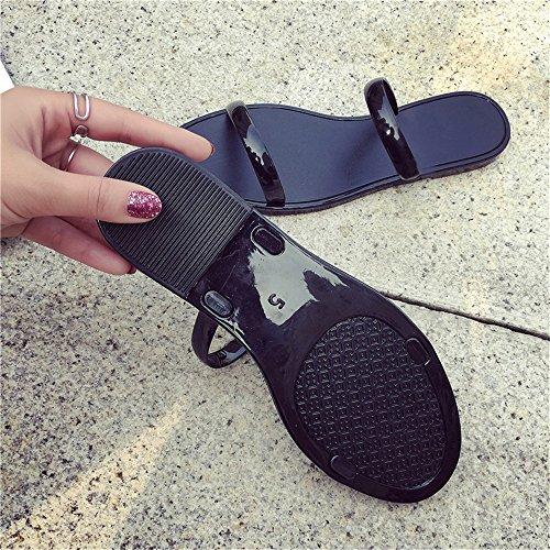Da Plastica Modalità Casual Eizur Sandali Nero Flats Ragazza Toe Estate Donna Clip Pantofole Infradito Spiaggia Scarpe FFPrv1Eq