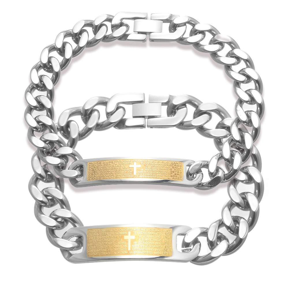 ZOBDX Jesus Cross Bracelet Gold Chain Link Bracelet Jewelry for Men Women
