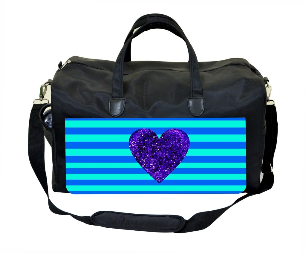 Purple Glitter Heart on Light Blue and Navy Stripes Weekender Bag