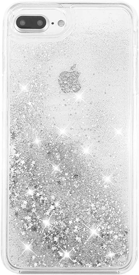 """uCOLOR Case for iPhone 7 Plus iPhone 8 Plus Case iPhone 6S Plus/6 Plus Case (5.5"""") Silver Glitter Liquid Waterfall Clear Protective Case for iPhone 7 Plus/8 Plus/6s Plus/6 Plus"""