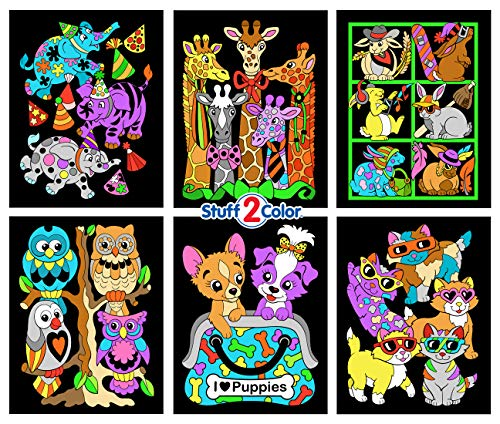 Cool Animals Fuzzy Coloring Poster 6-Pack (Arrives Uncolored) -