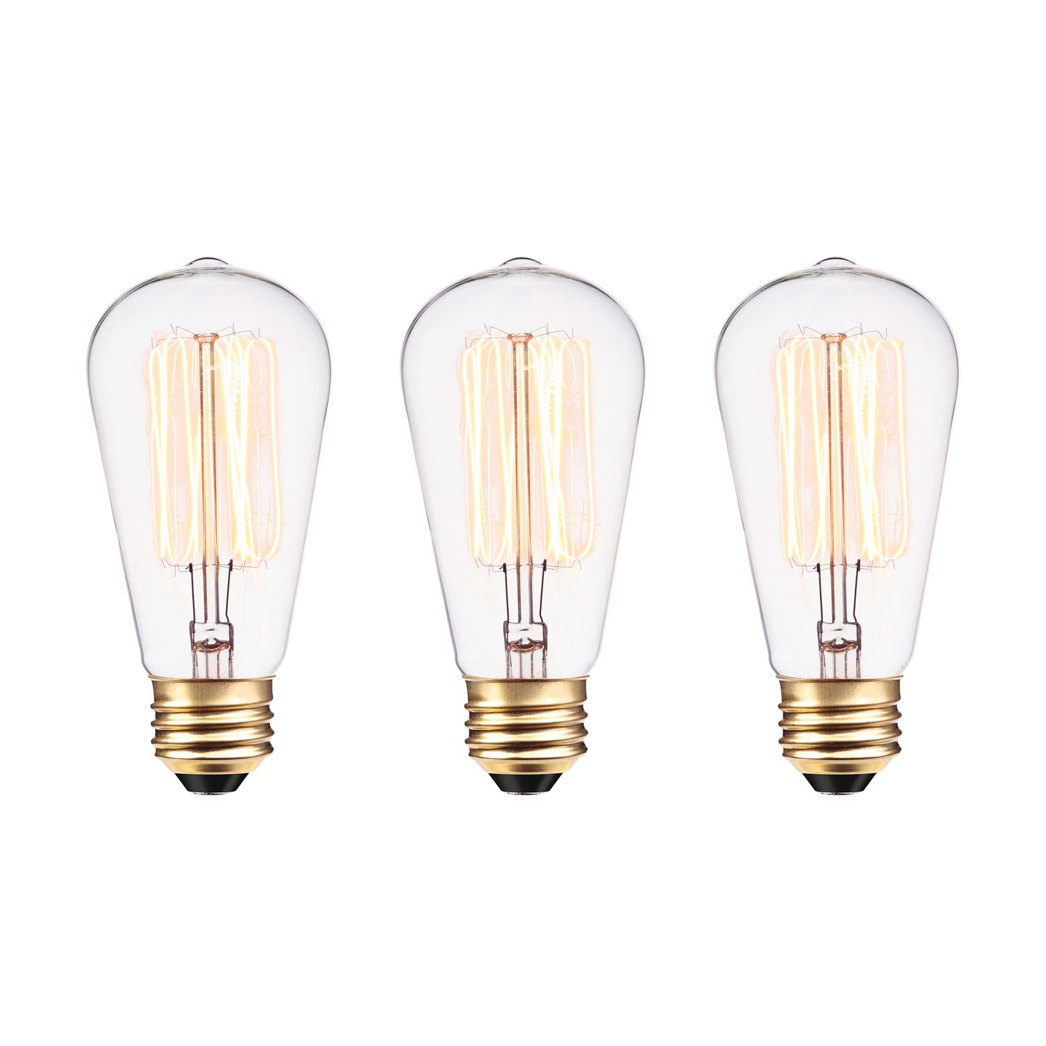 591bedf9ecb Globe Electric 60W Vintage Edison S60 Squirrel Cage Incandescent Filament Light  Bulb 3-Pack