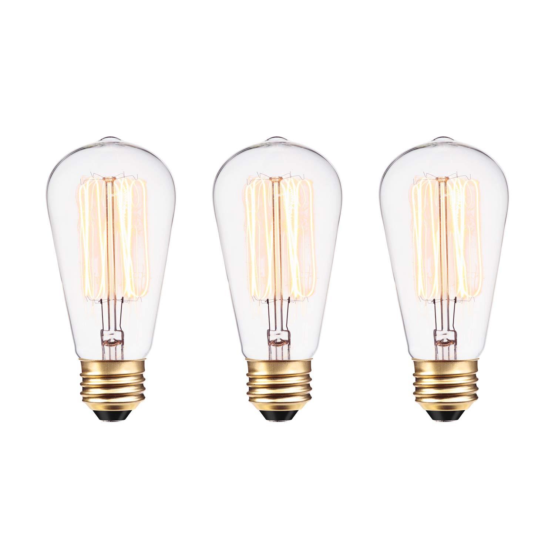 Globe Electric 60W Vintage Edison S60 Squirrel Cage Incandescent Filament Light Bulb 3-Pack, E26 Base, 245 Lumens 31321