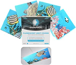 ShadeMAGIC Fluorescent Light Covers for Classroom Office-Seascape-Light Filter Pack of;Eliminate Harsh Glare That Causing Eyestrain and Head Strain.Office & Classroom Decorations. Light Diffusers (4)