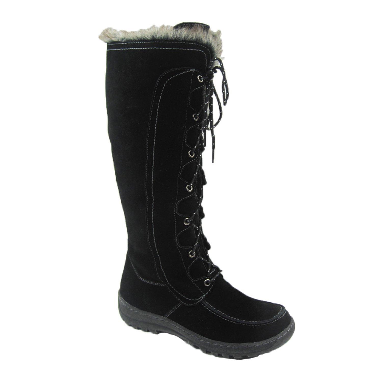 Comfy Moda Women's Winter Snow Boots Warsaw Genuine Suede Leather #6-12 (12, Black)