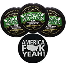 Smokey Mountain Herbal Snuff/Chew Wintergreen Pouches - 3ct - Includes DC Skin Can Cover(America Skin)