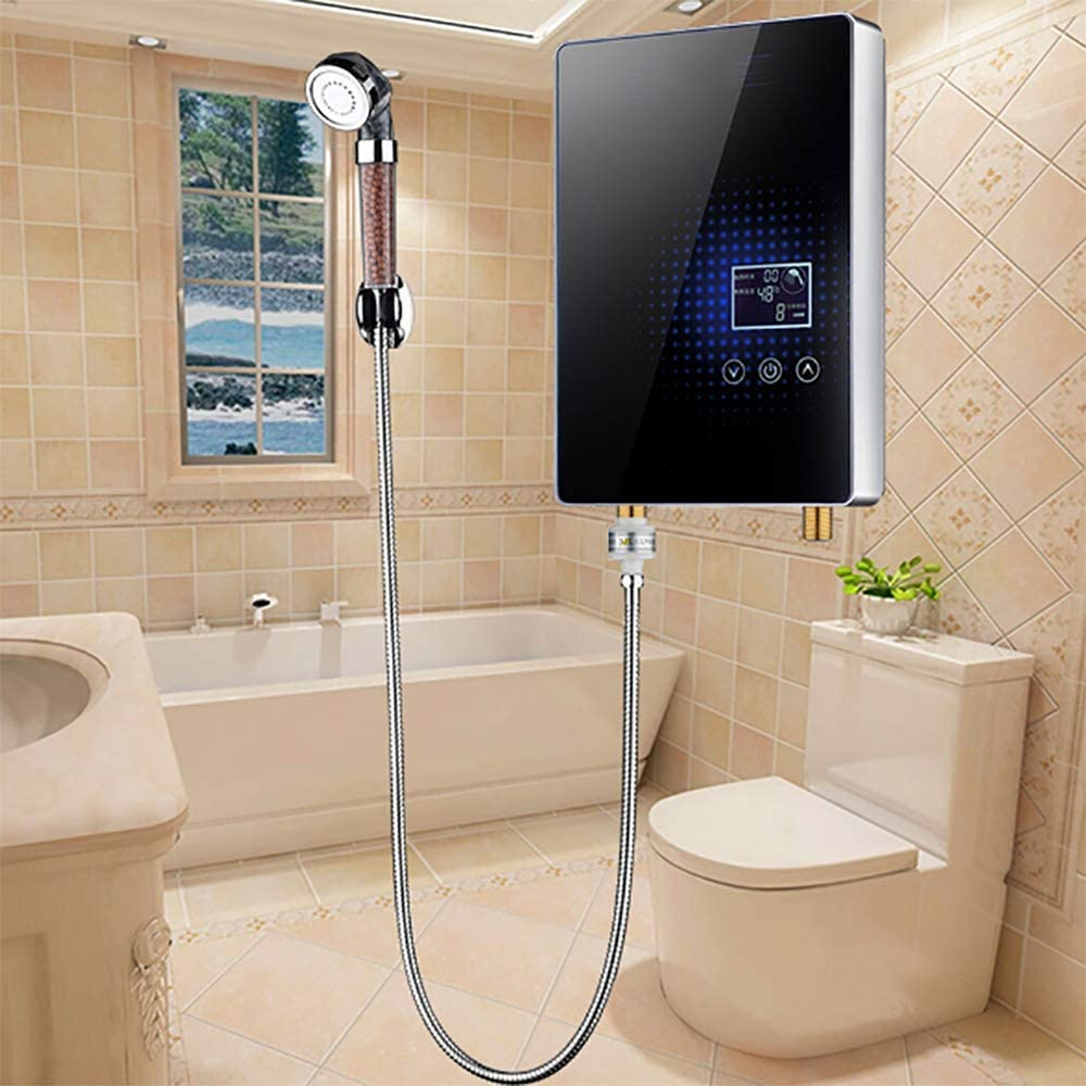 DRSQ 6KW Electric Water Heater 220V That Is Hot-Type Home Wall-Mounted Shower Bath Machine Constant Temperature Hot Kitchen Treasure,Blue