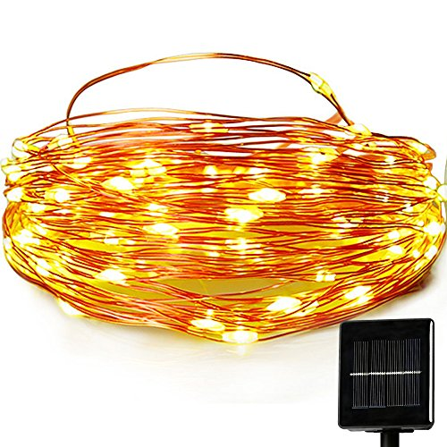 Outdoor Solar Powered String Lights,easyDecor Copper Wire 8Mode 100 LED 33ft Warm White ...
