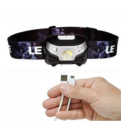 lylg Ood USB rechargeable LED Lampe frontale lampe frontale Phare très clair Outdoor Sports Head Light étanche, léger et confortable, idéal pour jogging, marcher, camping, Lire la Course