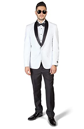 9ed23aa83dcb Slim Fit 1 Button Shawl Lapel White Tuxedo With Black Pants by Azar ...