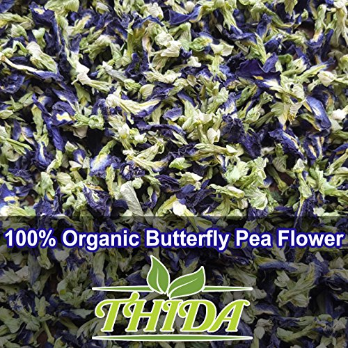 Butterfly Blue Pea Flowers for Enhancing Hot & Cold Teas - 100% Organic/Pesticide Free Natural Dried Thai Herbals, Carefully Selected Pigeonwings Flowers Blue Tea From Northern Thailand, 1.60Oz (50g)