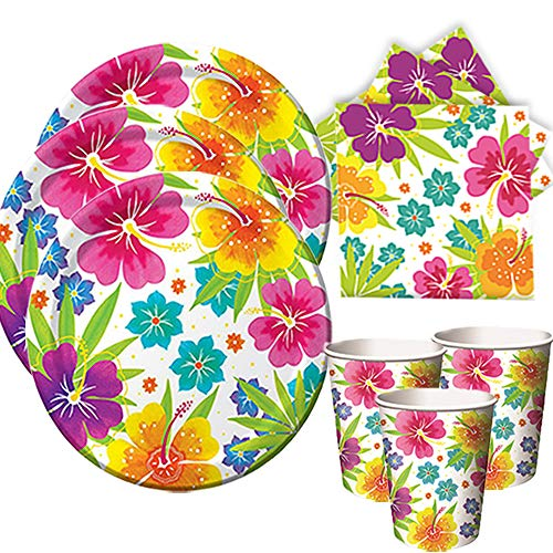 (Another Dream Tropical Luau Hawaiian Party Pack for 50 Guests Includes Plates, Napkins, and Cups)