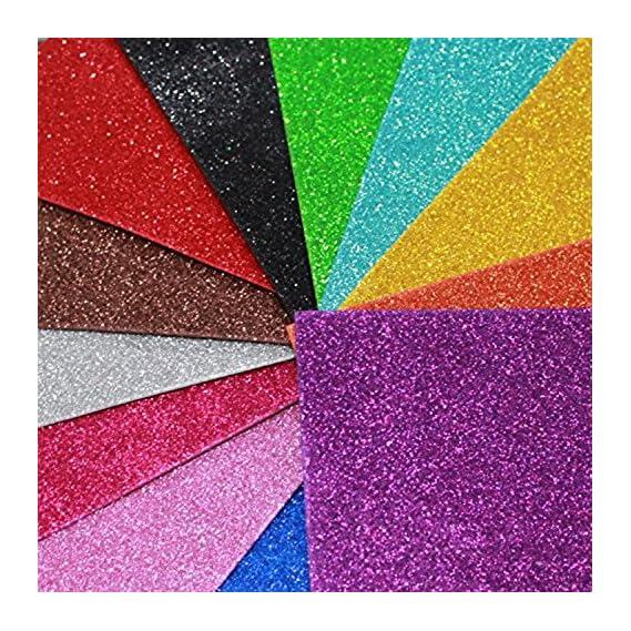 Happy Craft EVA Foam A4 Size Glitter Sheets for Arts and Crafts, Scrapbooking, Paper Decorations (Multicolour, 10 Pcs)