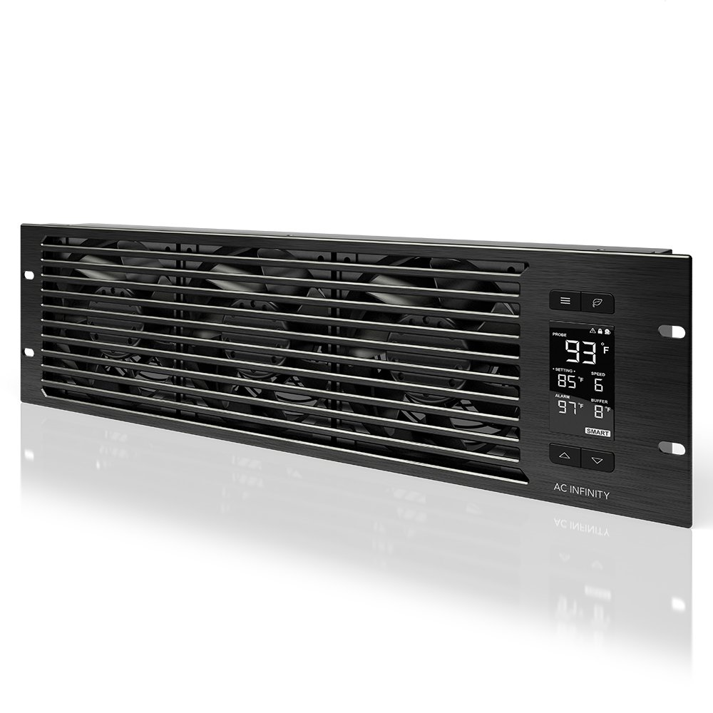 "AC Infinity CLOUDPLATE T9-N, Rack Mount Fan Panel 3U, Intake Airflow, for cooling AV, Home Theater, Network 19"" Racks"