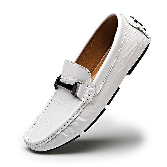 Hongjun-shoes, Confort Mocasines cocodrilo Textura Cuero Genuino Caminando Zapatos Mocasines, Mocasines para Hombre 2018 (Color : Blanco, tamaño : 42 EU): ...