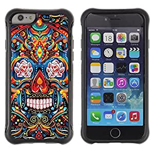 Be-Star Unique Pattern Anti-Skid Hybrid Impact Shockproof Case Cover For Apple iPhone 6(4.7 inches) ( Indian Pattern Floral Skull Death ) Kimberly Kurzendoerfer