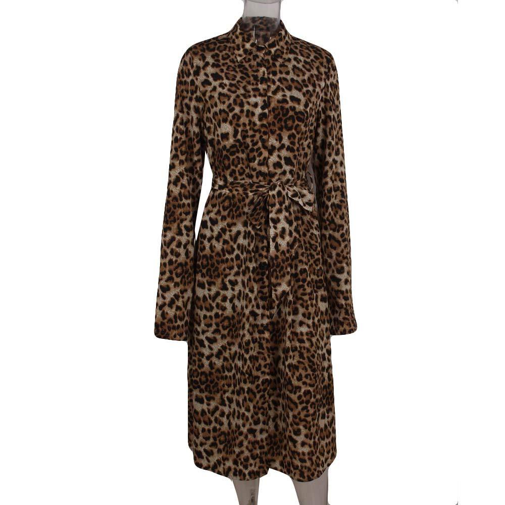 b5060a64eb7a Topgrowth Abiti Lunghi Donna Elegante Leopardato Maxi Vestito Vacanza Abito  da Camicia Casual Abito A Maniche Lunghe  Amazon.it  Abbigliamento